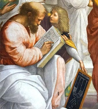 Pythagoras in the school of Athens.